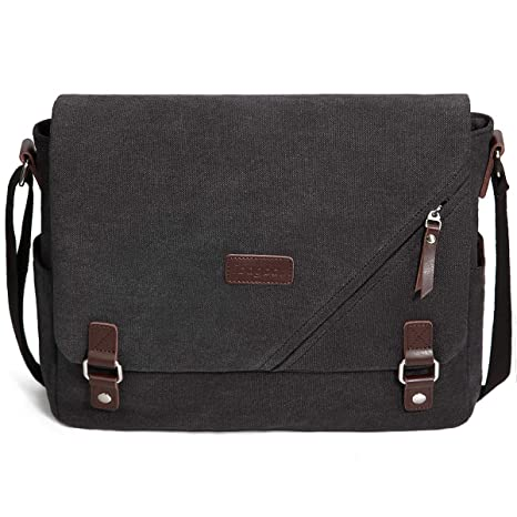 17119604cb24 ibagbar Canvas Laptop Messenger Bags 14 Inch Crossbody Shoulder Bag  Computer Bags with Padded Sleeves Vintage