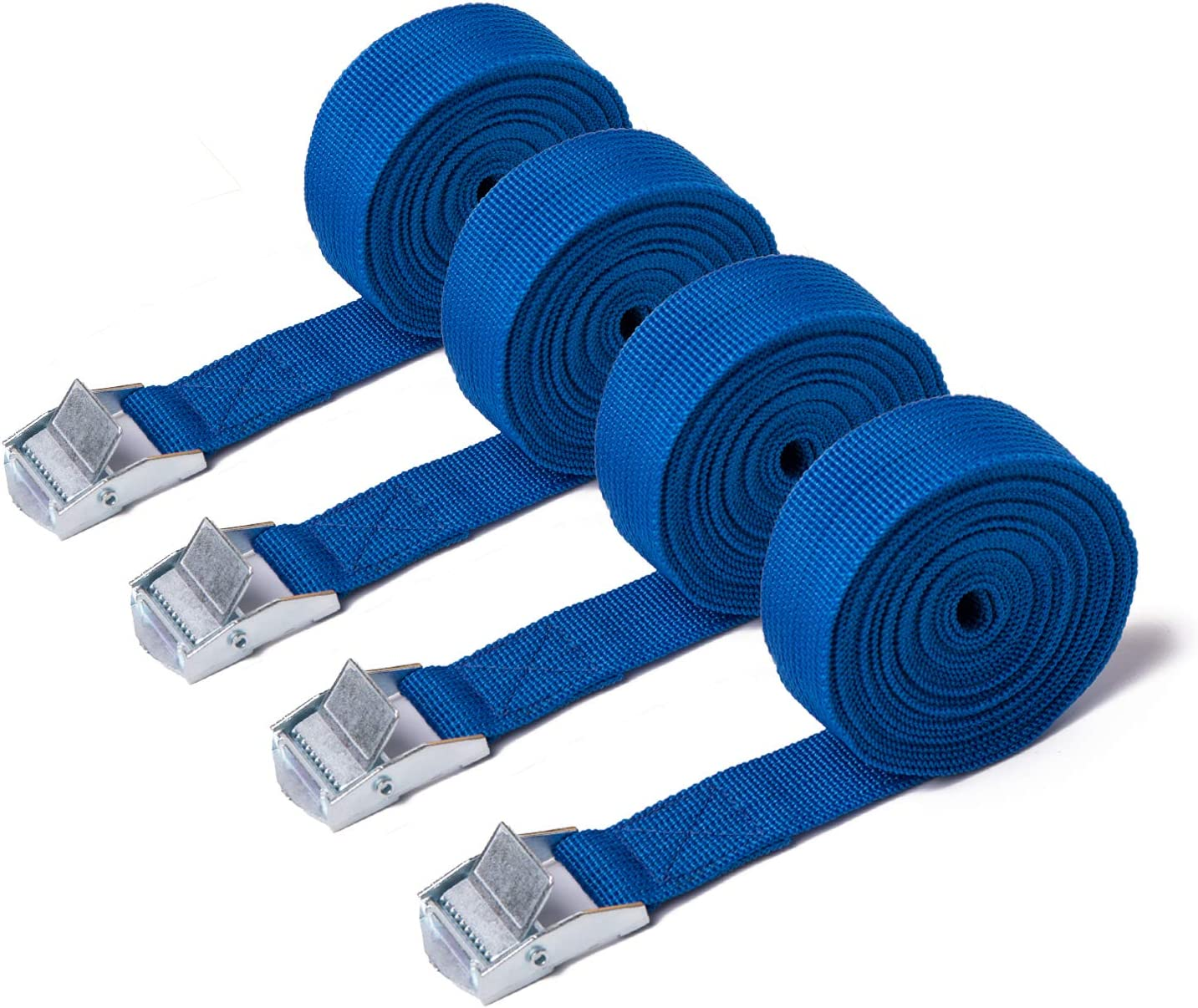 Heavy Duty Tensioning Belts Adjustable Lashing Straps for Motorcycle,Cargo Trailer,Trucks,SUP Kayak,Luggage,3M x 25mm LIVEGREEN 4 Pack Ratchet Tie Down Straps Black
