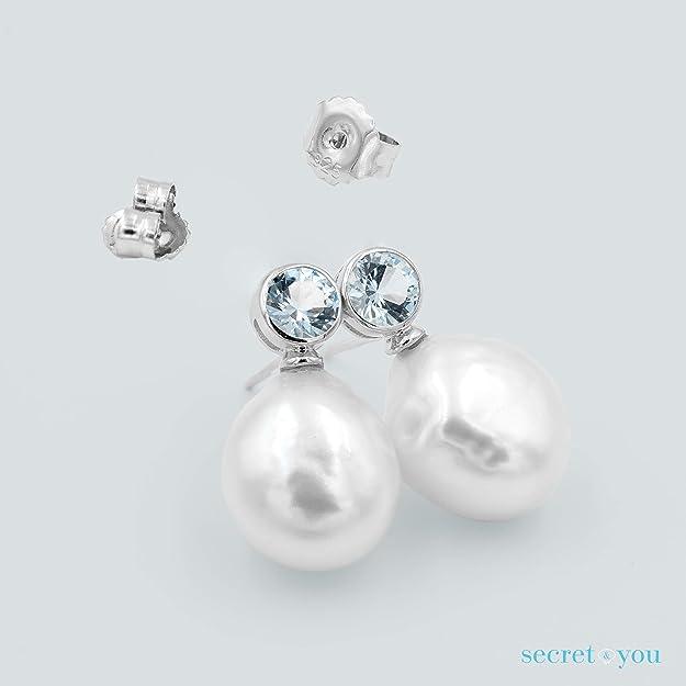 0f053875d645 Pendientes de Mujer de Perlas Cultivadas de Agua Dulce Barrocas de 12 a 13  mm con Circonita Grande SECRET   YOU. Diseño Tú y Yo