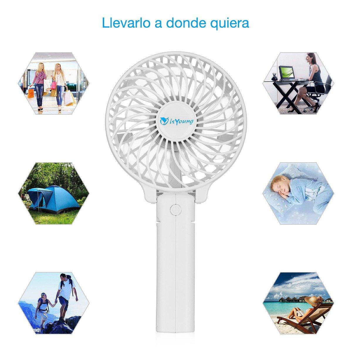 isYoung Mini Ventilador de Mano Portátil Recargable con 2200mAh 18650 li-ion Batería Recargable para Oficina, Hogar y Viajes - Blanco