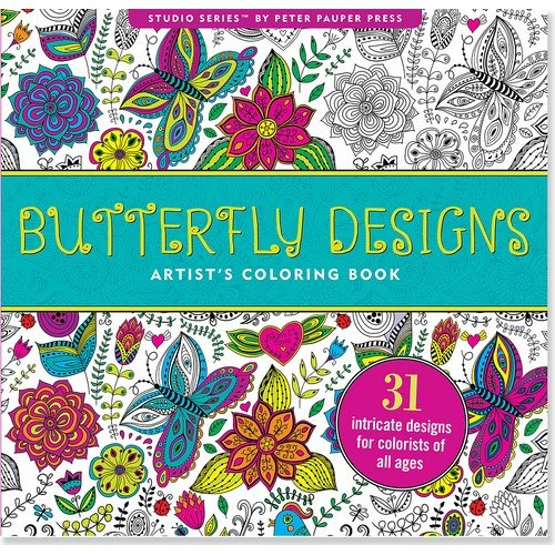 Amazon Butterfly Designs Adult Coloring Book 31 Stress Relieving Studio 9781441318381 Peter Pauper Press Books