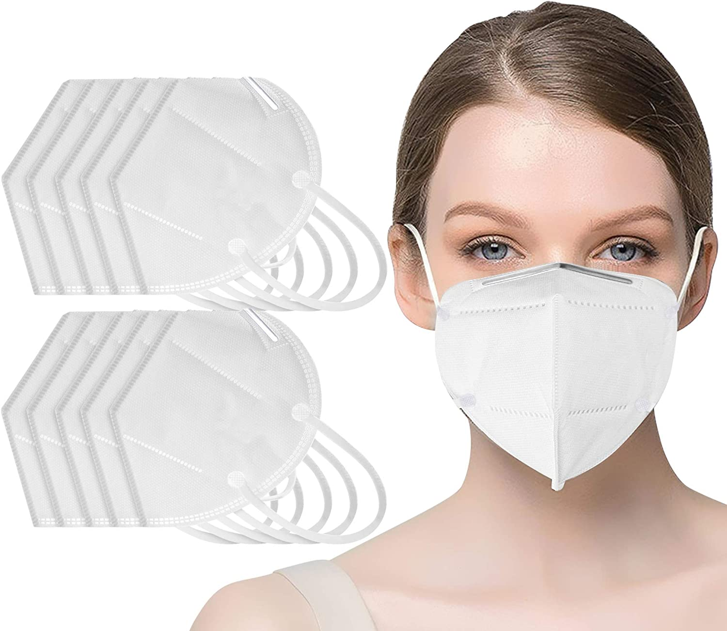 20 pcs Face Mask - 5 Layer Filters - Non Woven Hypoallergenic Protection - Dust, Pollen and Haze Proof - Superior Face Sealing, Comfortable, Breathable with Elastic Ear Loop