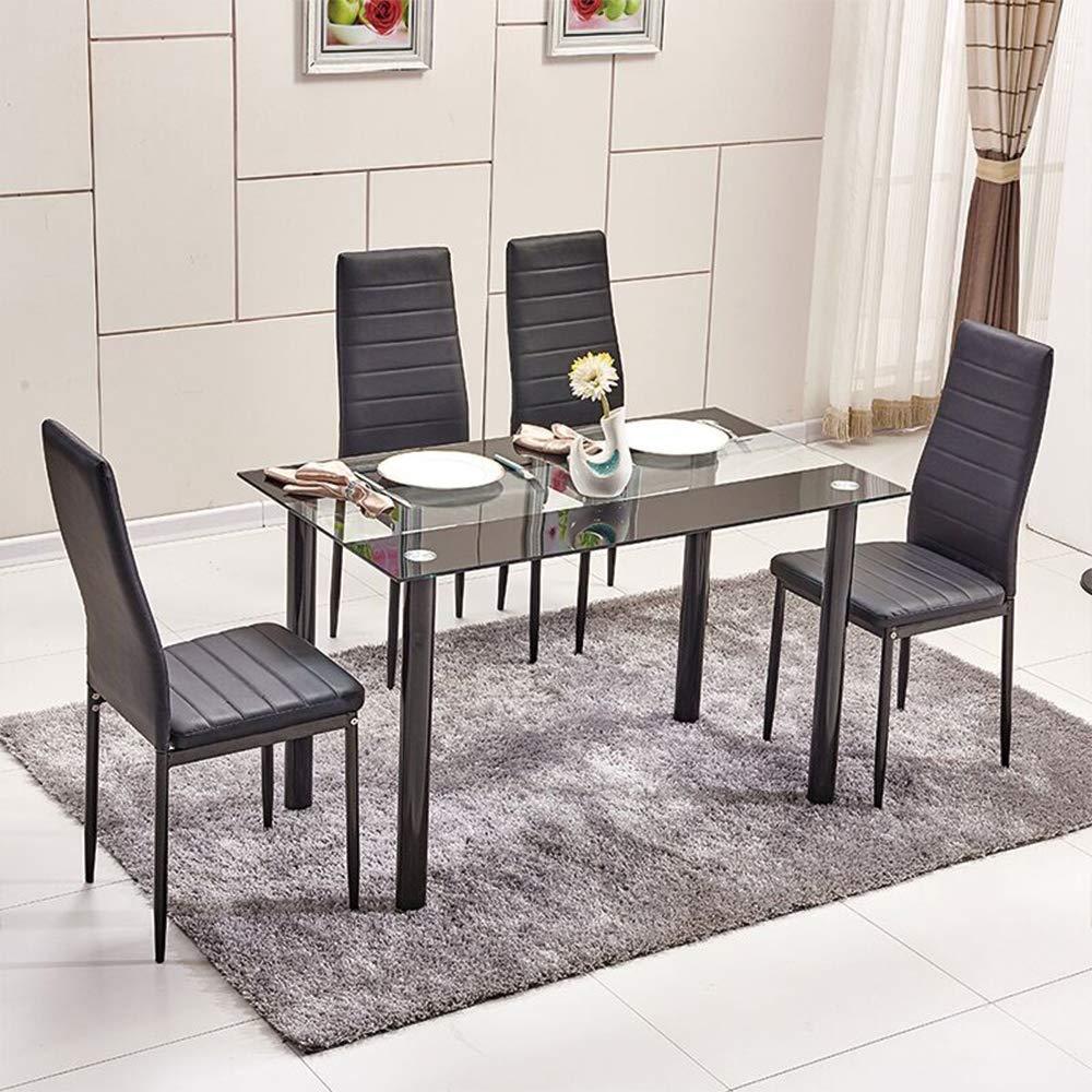 huiseneu - Juego de sillas de Comedor de Cristal Negro Moderno ...