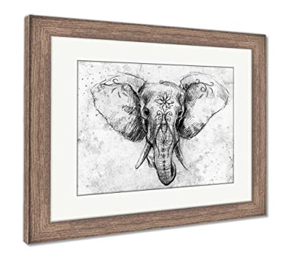 Ashley Framed Prints Elephant With Floral Ornament Pencil Drawing On Paper Color Effect And Computer