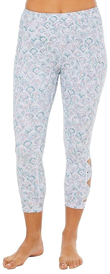b107b5bf1aa04 Gaiam Women's Capri Yoga Pants - Performance Spandex Compression Legging -  Sage Green, X-
