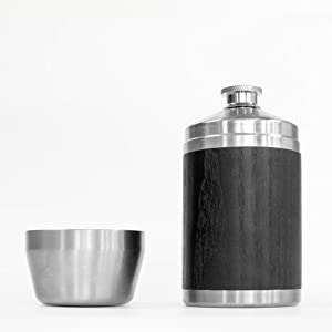 Nisnas 6oz stainless flask drink holder with cup - Fist Size Upper Cut Flask, Drinking Flask with Cup, Stylish Wood and Stainless Steel, 6oz