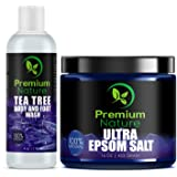 Tea Tree Oil Fungus Treatment Set - Tea Tree Body & Foot Wash 4 oz + Epsom Salt 16 oz - Antifungal Foot Soak for Athletes Foot Calluses Tiered Feet & Foot Odor - Soft Rejuvenated Skin - Premium Nature