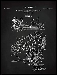 Go Karting Patent Print, Go Kart Shock Mount Blueprint, Motorsport Poster, Go Kart Print, Racing Decor, Man Cave Wall Art, GoKart Art, QP524