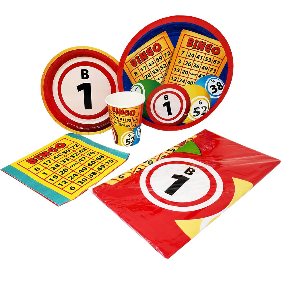 Bingo Deluxe Party Packs (70 Pieces for 16 Guests!), Bingo Party Supplies, Bingo Fundraiser, Tableware by Blue Orchards