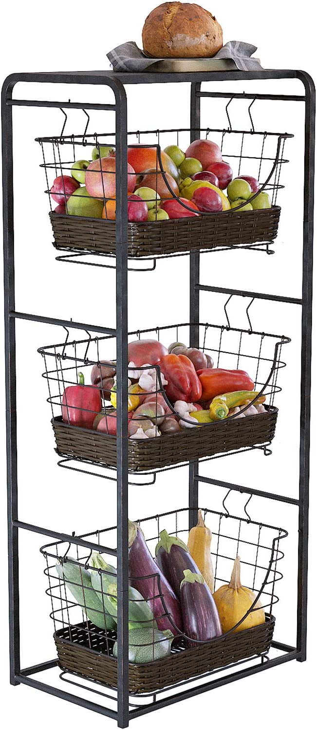 Home Intuition 3-Tier Removable Wire Baskets Stand and Shelf Fruit Vegetable Produce Metal Hanging Storage Bin for Kitchen, Antique Black