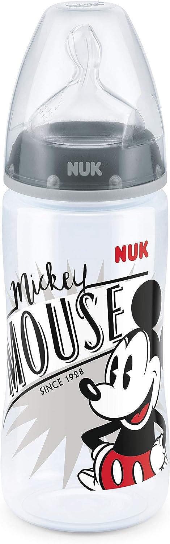 NUK Botella FIRST CHOICE Anti-Cólico bebé Disney Mickey PP 300 ml, con cuello ancho Gr silicona pezón. 2 (6-18 meses) M para la leche, color negro