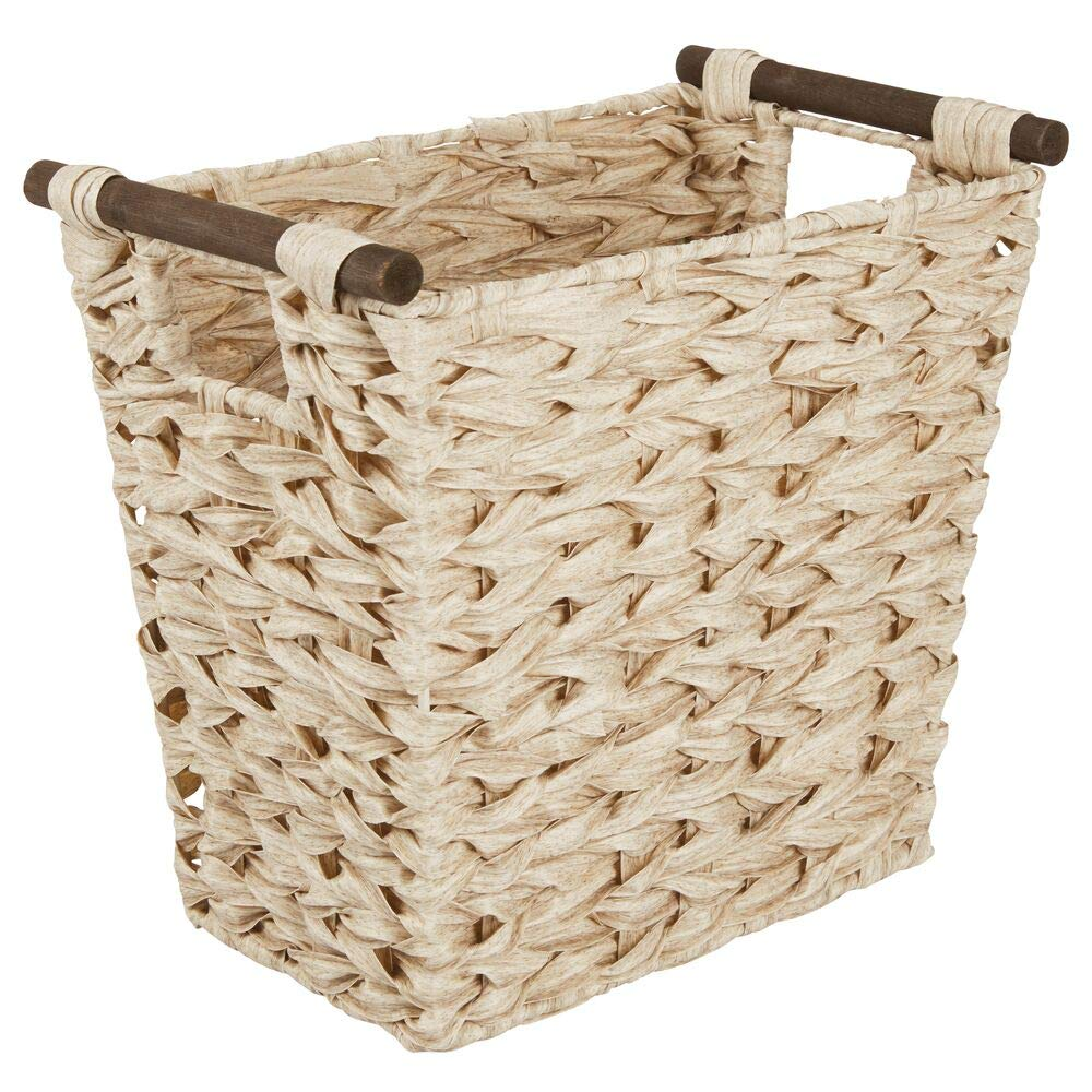 mDesign Small Woven Basket Trash Can Wastebasket - Rectangular Garbage Container Bin with Wood Handles for Bathrooms, Kitchens, Home Offices, Craft, Laundry, Utility Rooms - Natural/Dark Brown by mDesign
