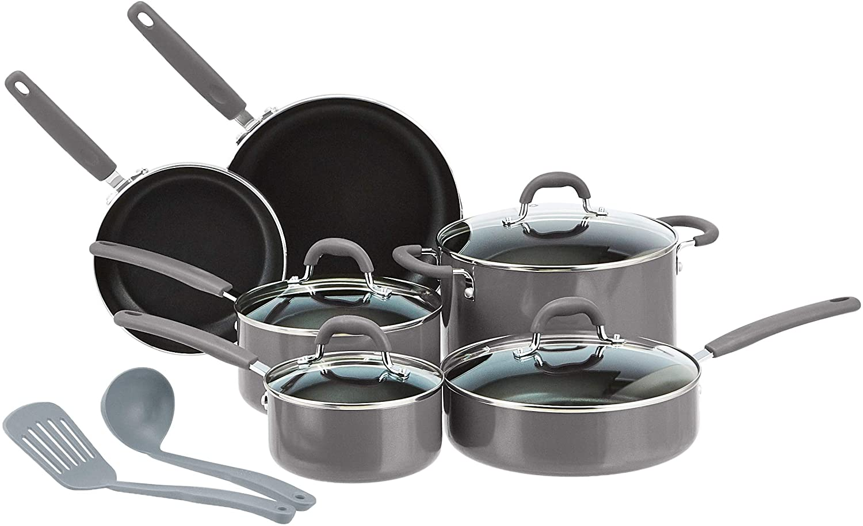 AmazonBasics Ceramic Non-Stick 12-Piece Cookware Set, Grey - Pots, Pans and Utensils