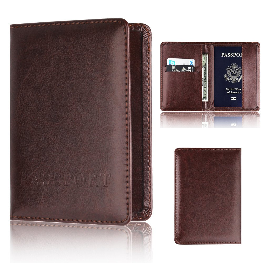 Coffee Multi-Card Leather Unisex Passport Card Bank Card Credit Card Package Coin Purse Pausseo Solid Color Card Package