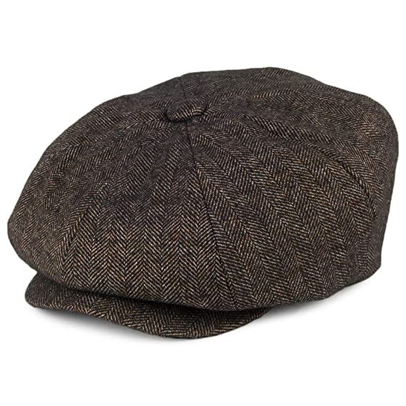 740cb654 Bailey Hats Beech Herringbone Newsboy Cap - Black-Brown: Amazon.co.uk:  Clothing