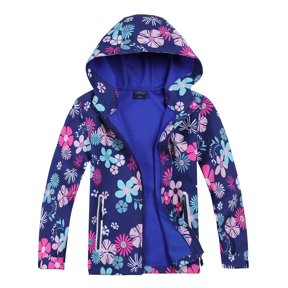 Jingle Bongala Boys Girls Rain Jacket Waterproof Coat Raincoat Hooded Light Windbreaker for Camping Hiking-Violet Floral-130 by Jingle Bongala