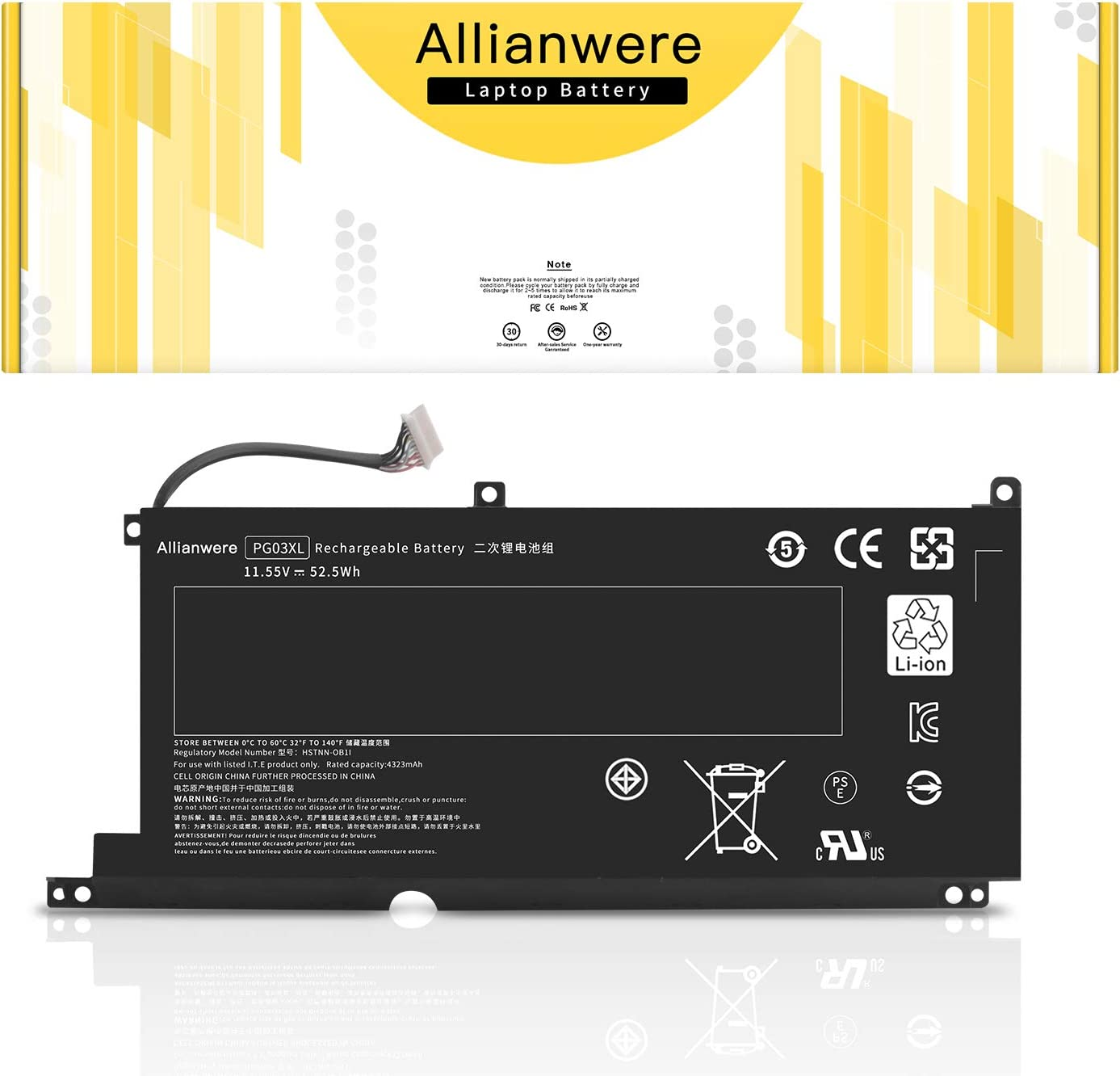 Allianwere PG03XL Laptop Battery Compatible with HP Spectre X360 15 AP011DX AP012DX Ultrabook Notebook PGO3XL 831532-421 831532-422 831758-005 Replacement