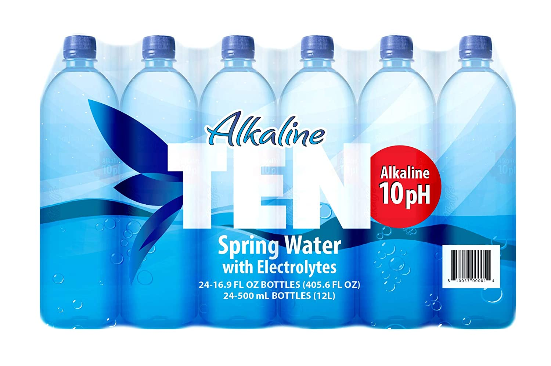 TEN Alkaline Spring Water, pH 10, High in Electrolytes, 16.9 Ounce Bottle (Pack of 24)