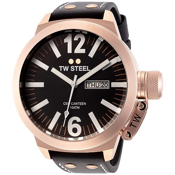 TW Steel CE1022 CEO Canteen - Reloj unisex de cuarzo, correa de piel color negro: Amazon.es: Relojes