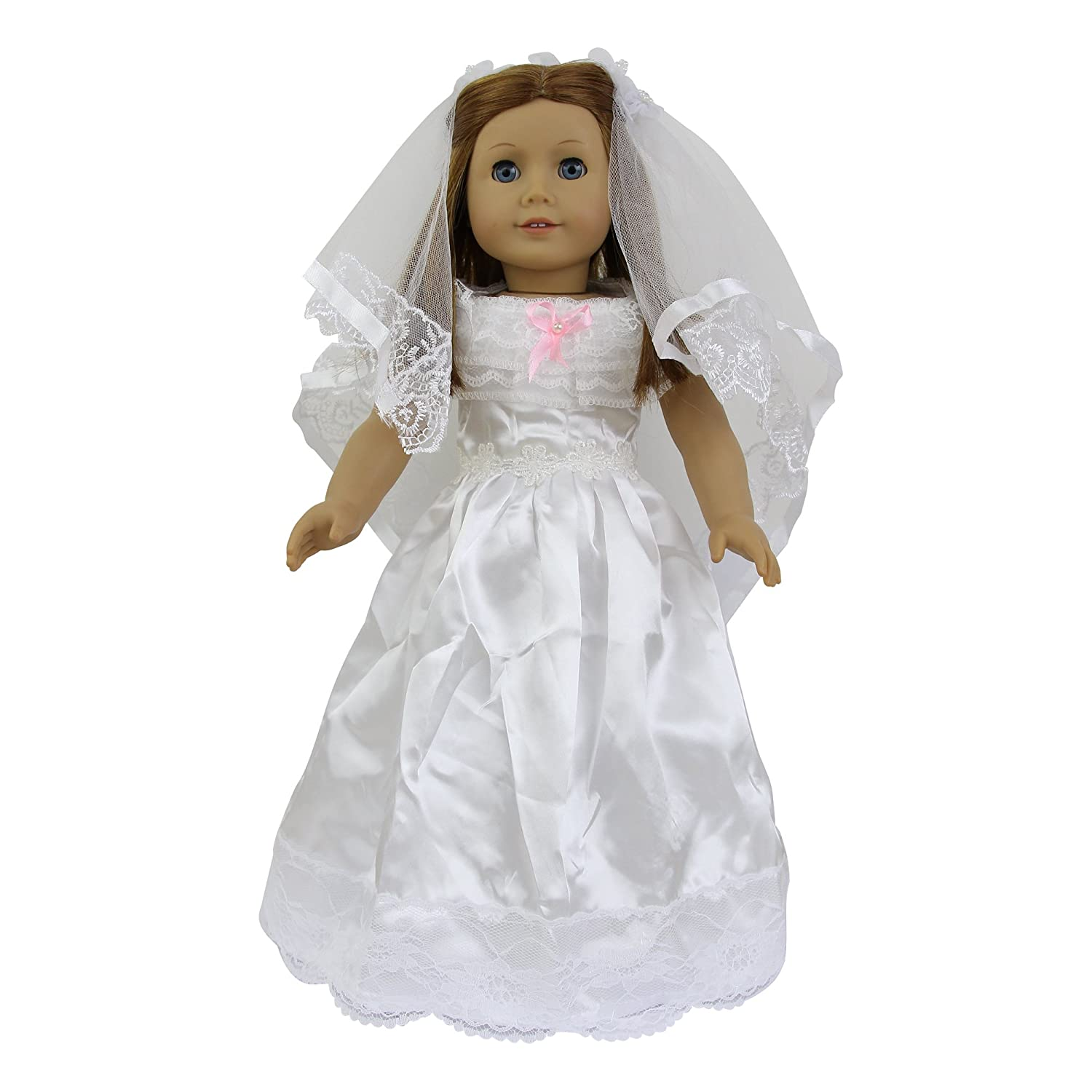 ZITA ELEMENT Doll Clothes -Princess Wedding White Dress + Veil Fits American Girl Doll, My Life Doll, Our Generation and other 18 inch Dolls XMAS GIFT