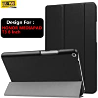 Taslar Leather Stand Function with Magnetic Lock Flip Cover Case for Honor MediaPad T3 8 Inch (Black)