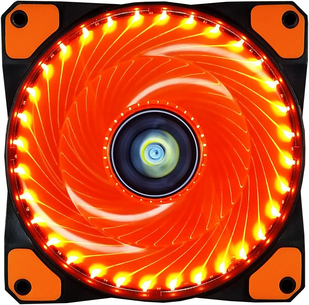 CONISY 120 mm Computer Case Cooling Fan Ultra Quiet LED PC Gaming High Airflow Fans (Orange)