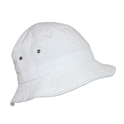 e08a233fadb Dorfman Pacific Cotton White Crushable Summer Sun Bucket Hat at ...
