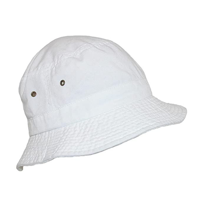 96f0ee9bf0d98 Dorfman Pacific Cotton White Crushable Summer Sun Bucket Hat  Amazon.ca   Clothing   Accessories