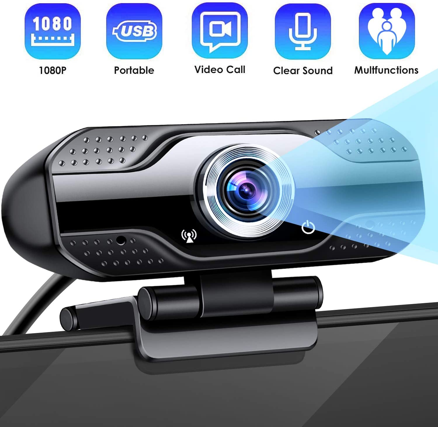 CLEEBOURG 1080P HD Webcam Web Camera Dual Built-in Microphones,Plug & Play USB Web cam with 110-Degree Wide View Angle Widescreen Webcam for Calling, Conferencing, Skype,Video Conference