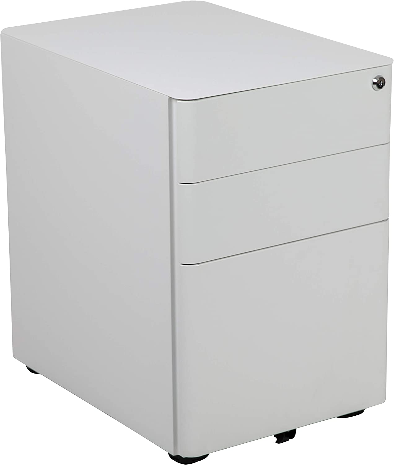 Flash Furniture Modern 3-Drawer Mobile Locking Filing Cabinet with Anti-Tilt Mechanism and Hanging Drawer for Legal & Letter Files, White