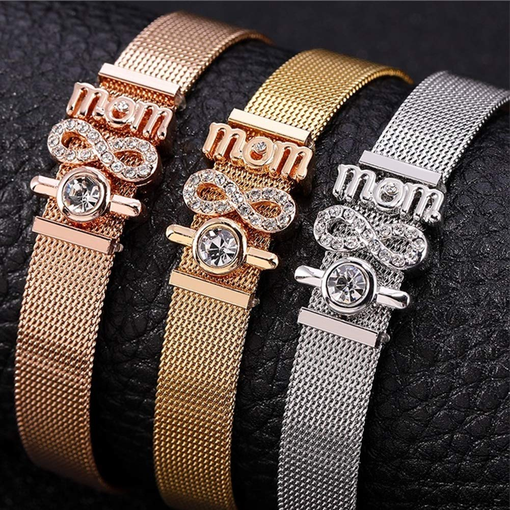 Dzsntsmgs Fashion English Letter Number Rhinestones Inlaid Mesh Bangle Thin Bracelet Gift Rose Gold