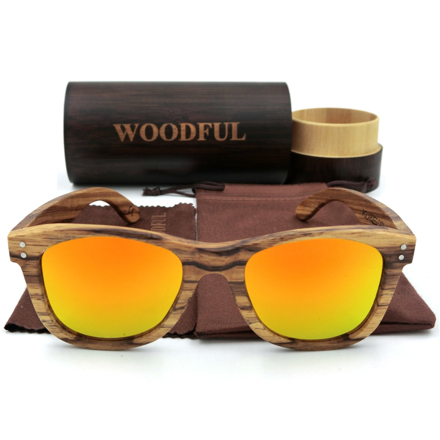 Wooden Sunglasses with Round Bamboo Glasses Case polarized) woodful