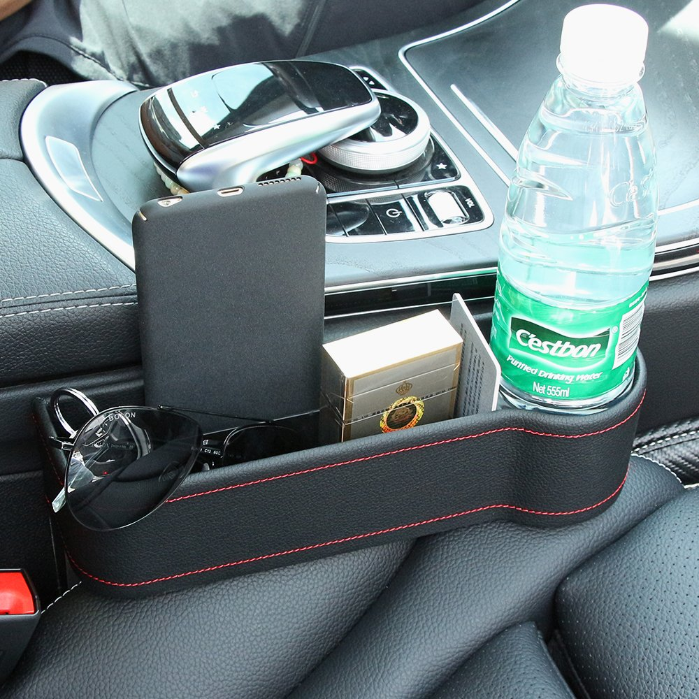 PU Leather Side Pocket Organizer Car Seat Filler Gap Space Storage Box Cup Holder Car Interior Accessories