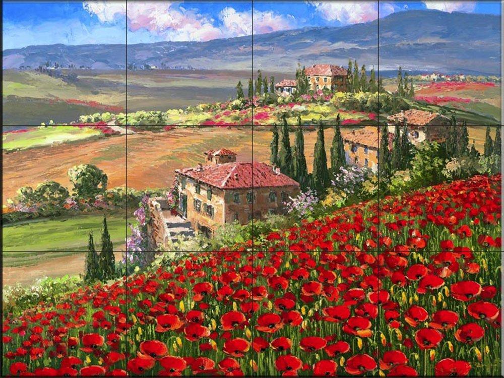 Kitchen backsplash//Bathroom shower Ceramic Tile Mural by Sam Park//Soho Editions Tuscany Villa