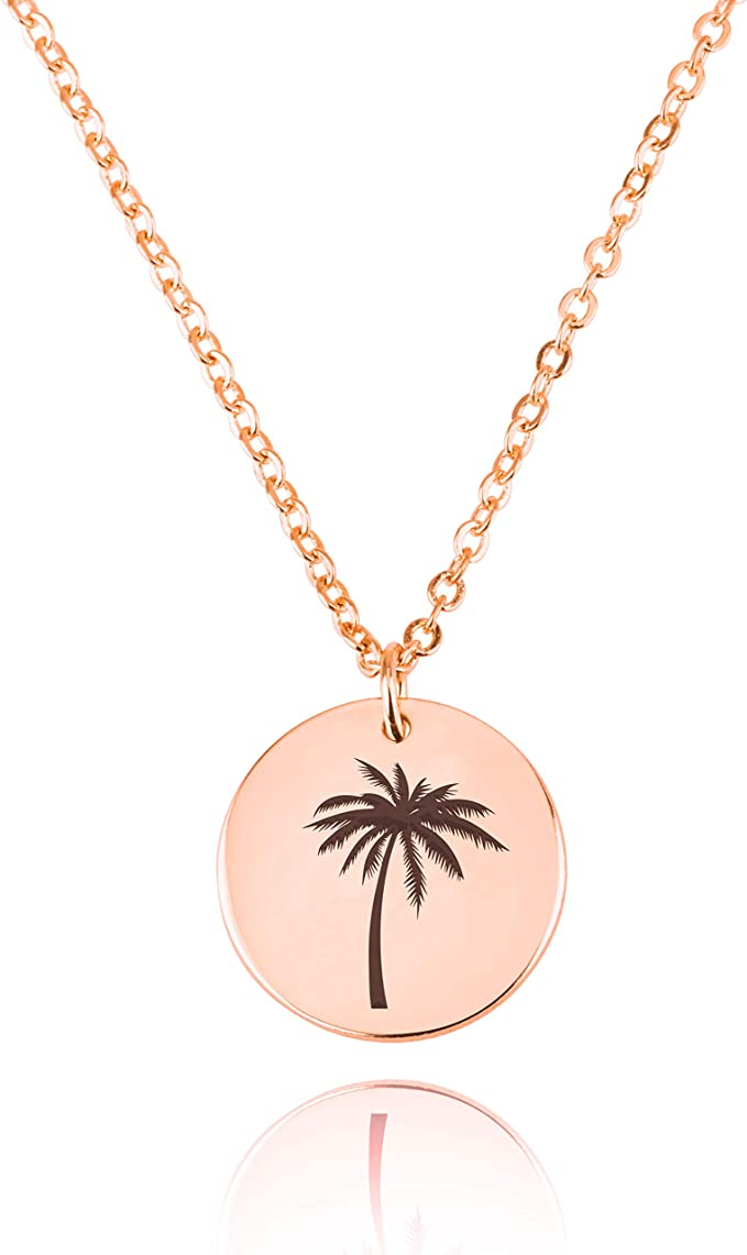 palm tree necklace gifts for teens palm tree charm necklace tropical jewelry gift leather lariat necklace boho wrap necklace for her