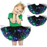 Longles 2pcs Tutu Skirt Kids Girls Baby Sequin Tutu Skirt LED Light Up Ballet Clothes Ballet Bubble Skirt for 2-8Years