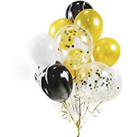 HOUZE LS-9487 Balloons (Set of 10) - Gold + Black + Glitters