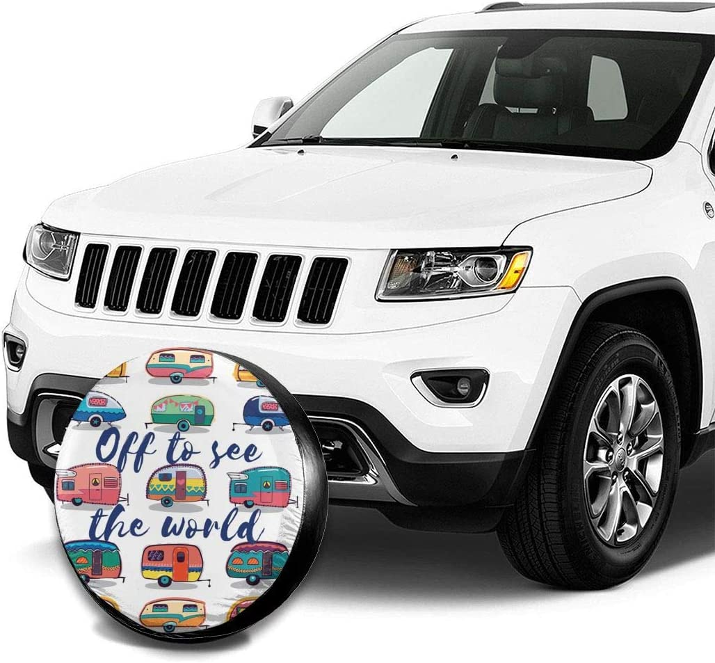 SUV and Many Vehicle 14 Inch RV Foruidea American Flag Donut Spare Tire Cover Waterproof Dust-Proof UV Sun Wheel Tire Cover Fit for Jeep,Trailer