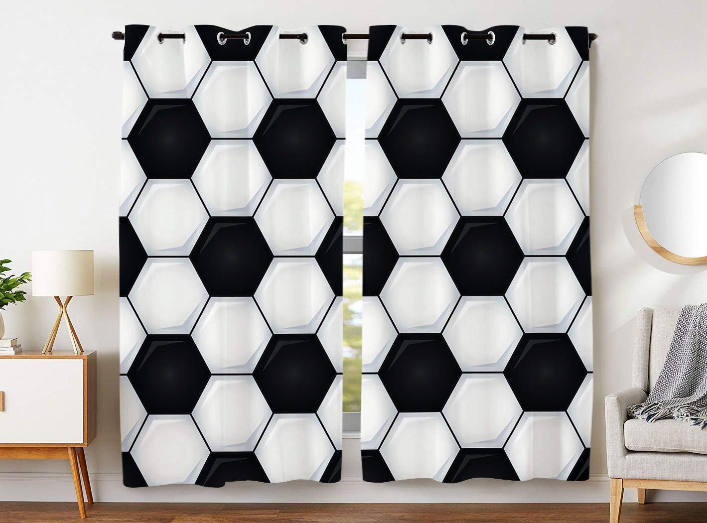 YISUMEI - Gardinen Blcikdicht - Fußball Design - 245 x 140 cm 2er Set Vorhang mit Ösen für Wohnzimmer Schlafzimmer