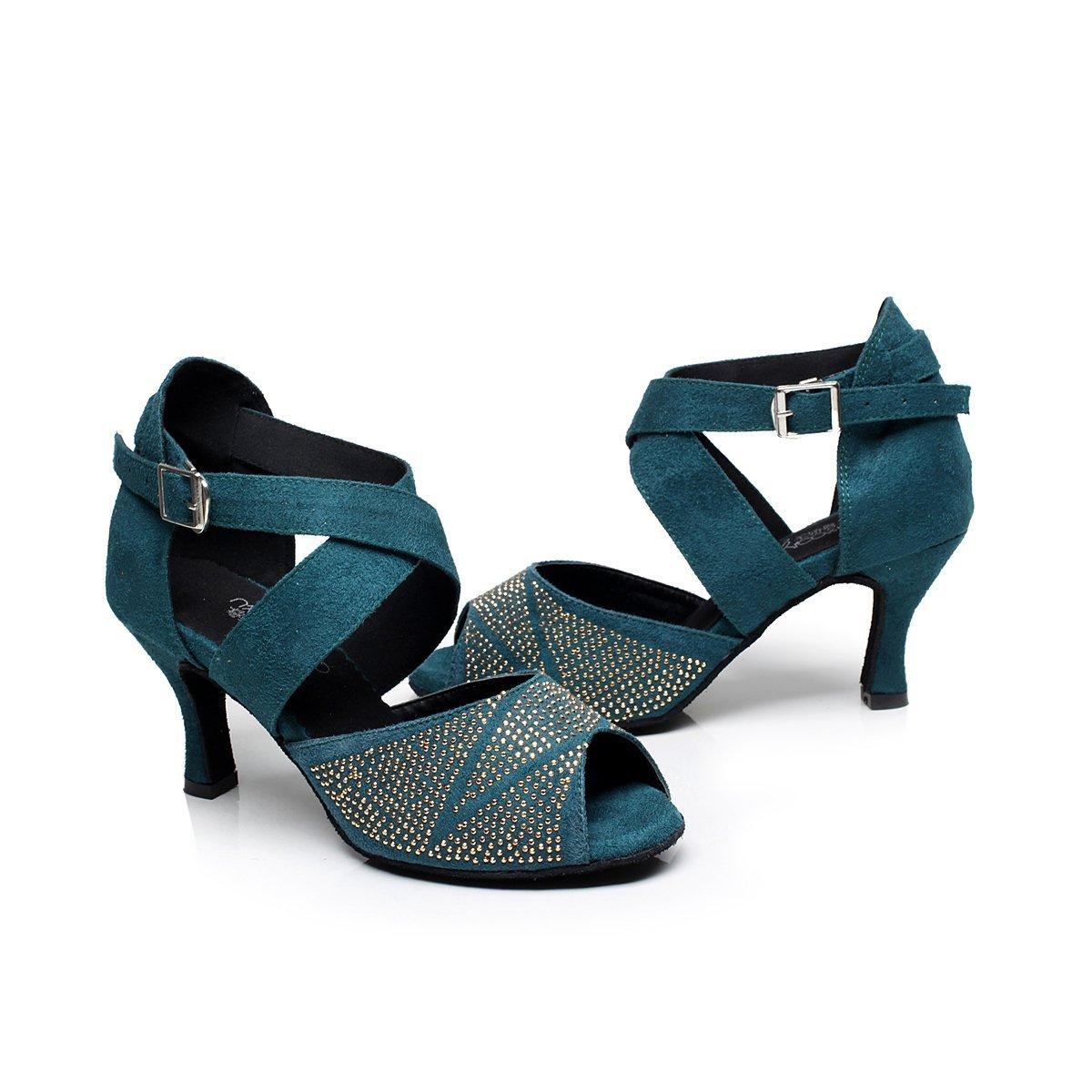US9, Navy BAYSA Women Fashion Rhinestone Latin Ballroom Salsa Tango Dance Shoe