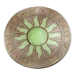 "Bits and Pieces - Sun Garden Stone - Glowing Sun in The Dark Garden Stone; Garden Décor - Stone Measures 10"" in Diameter"