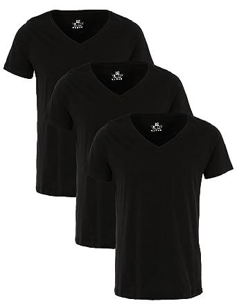 Lower East Camisetas básicas de Manga Corta Hombre, Pack de 3, Negro, L: Amazon.es: Ropa y accesorios
