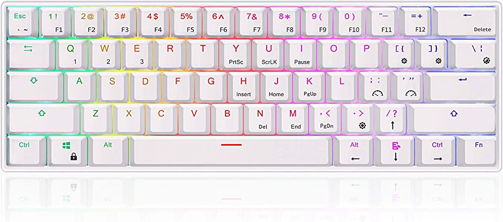 Amazon Com Rk Royal Kludge Rk61 Rgb Wireless Wired 60 Compact Mechanical Keyboard 61 Keys Bluetooth Small Portable Gaming Office Keyboard With Rechargeable Battery For Windows And Mac Gateron Brown Switch White Electronics