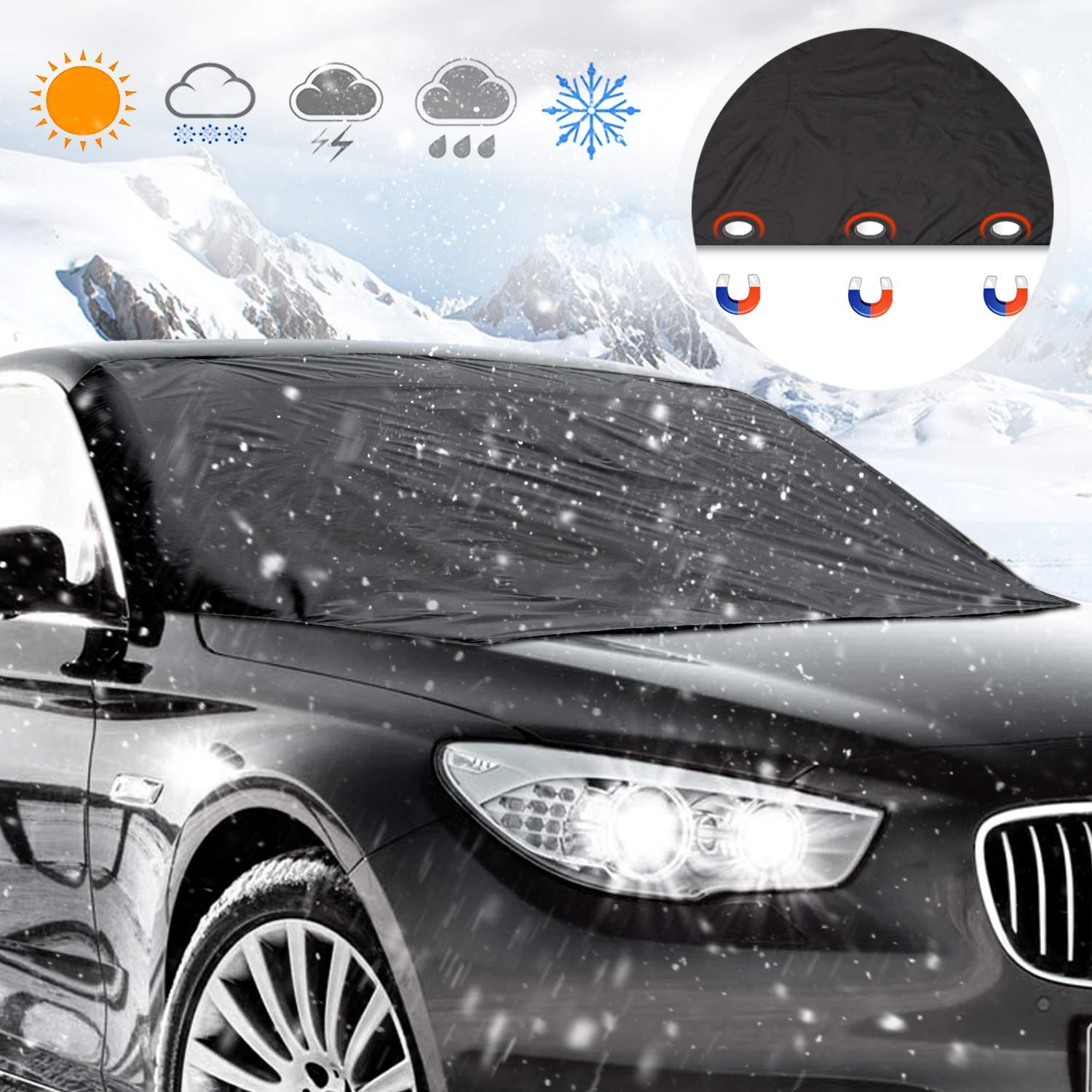 Windshield Snow Cover, Lypumso Windshield Cover Keep your Vehicle Exterior Frost Free and Clean, Blocking the heat of the sun, blocking snow, fallen leaves, bird excrement. Elastic Hooks Design Will Not Scratch Paint, Fits Most Car with (85' x 49')