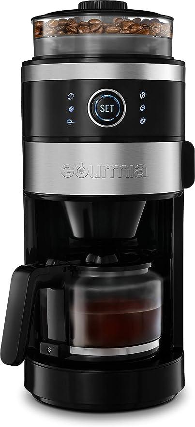 Gourmia GCM4850 Máquina para moler y preparar café con molinillo integrado, tamaño de molinillo ajustable, dial de selección de taza, selección de fuerza de preparación, función de mantenimiento caliente, 6 tazas: Amazon.es: