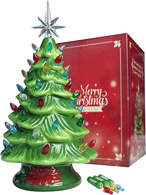 Vintage Xmas Tree Ornaments Wooden Glowing House Christmas Decor LED Lights