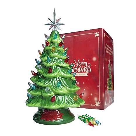 Ceramic Christmas Tree Vintage.Sunlit Cordless Lighted Ceramic Christmas Tree Vintage Tabletop Christmas Decoration Pre Lit Colorful Mini Light Bulbs 13 Traditional Green Aa