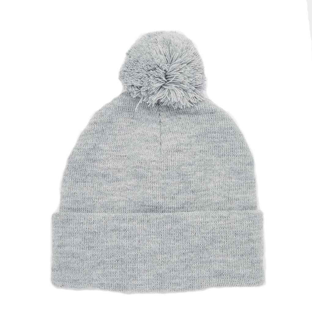 Bobury Cappello caldo di lavoro a maglia casuale dell'uomo delle donne del cappello cappello di inverno con il hairball