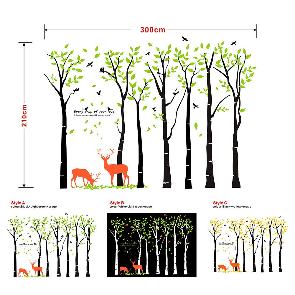 Mix Decor Tree Wall Decal - 7 Trees Wall Sticker Large Family Forest for Livingroom Kid Baby Nursery Room Deer Wooland Decoration Party Birthday Gift,118x83 Inch Black + Green by Mix Decor (Image #6)
