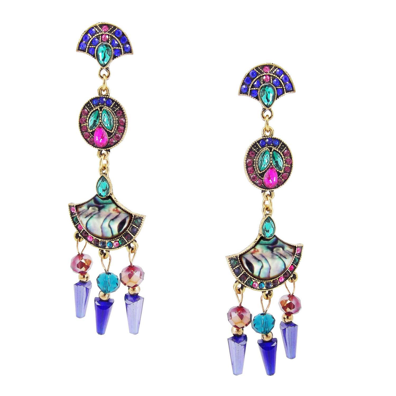 9blings Designer Blue Pink Marble Finish Crystal Long Dangle Earring